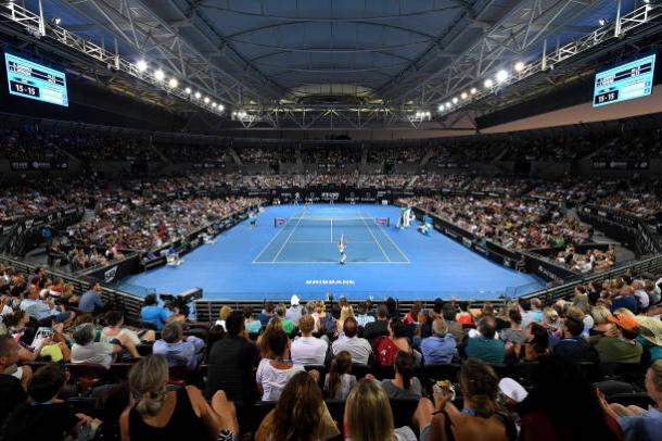 Interior of Pat Rafter Arena, the main court of the Queensland Tennis Centre, during last year's women's final. Photo credit: Bradley Kanaris/Getty Images.