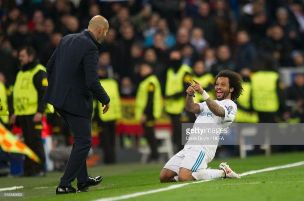 Marcelo celebra con Zidane. Foto: Getty images.