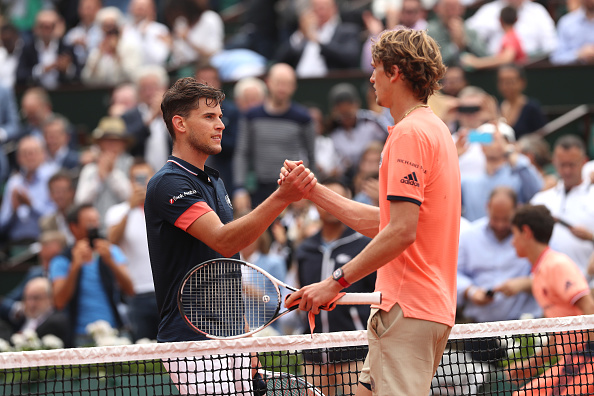 Thiem and Zverev at the 2018 French Open (Image: Matthew Stockman)