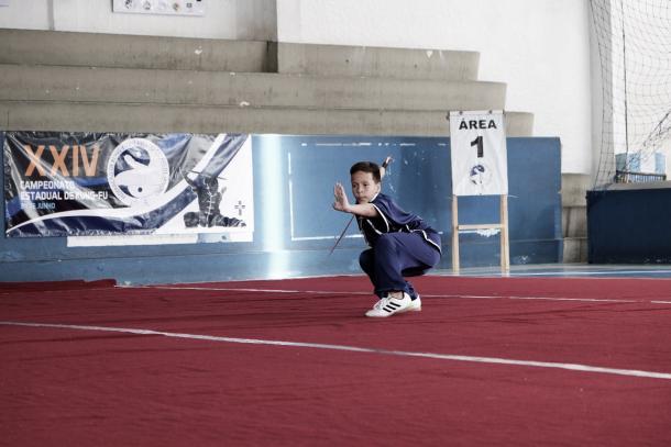 Lucas Ribeiro, de apenas 9 anos, é integrante da Seleção Brasileira de Kung Fu Wushu (Foto: Marcos Antônio Ribeiro)