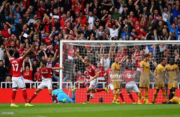 Ben Gibson gets a goal back for Middlesbrough against Tottenham Hotspur | Photo: Dan Mullan/Getty