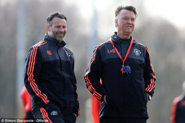 Ryan Giggs with Louis van Gaal in training with Manchester United. Source: Simon Stacpoole, Offside