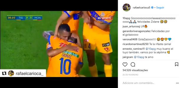 Gignac comenta vídeo do gol de Rafael Carioca no Instagra o chamando de Zidane