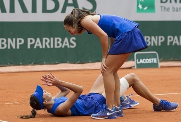 Manjon and Danilovic celebrate their victory. Photo: Susan Mullane/ITF