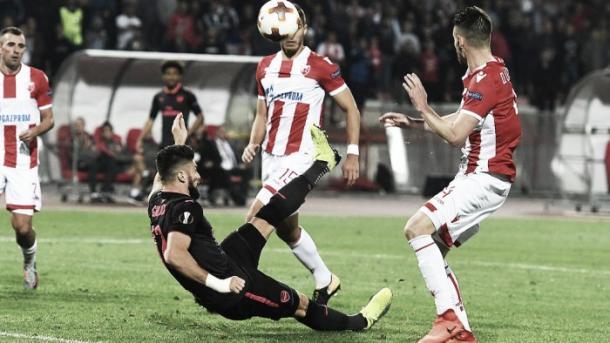 Giroud anotó en el último partido de Europa League. Foto: Arsenal