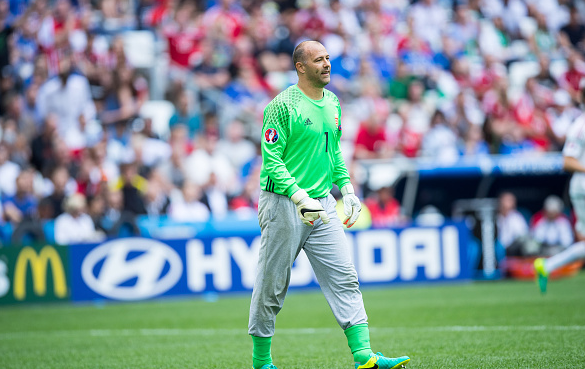 Cult hero: Kiraly, one of Hungary's best performers against Austria, looked uncomfortable against Iceland on Saturday. | Photo: Getty