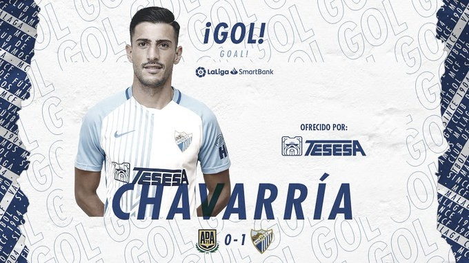 Pablo Chavarría. Gol. / Foto: Málaga CF
