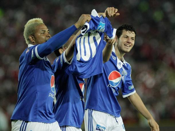 Foto: Futbolred - Mayer Candelo celebra su anotación numero 100 como profesional
