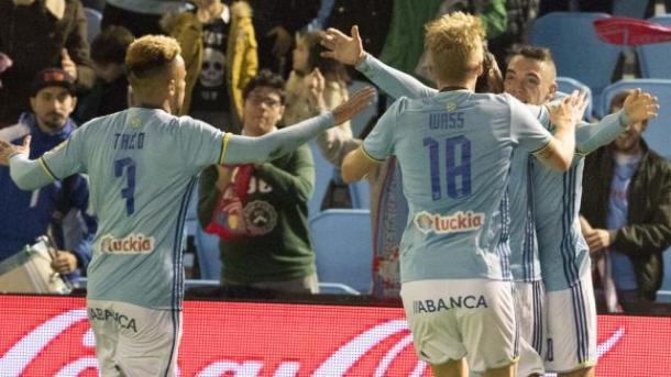 El Celta celebra el gol de Aspas | Foto: La Liga