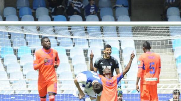 Adrián Ramos celebra su gol en Anoeta | Foto: La Liga