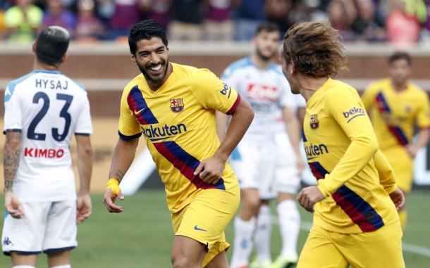 Luís Suárez celebrando un gol contra el Nápoles. FOTO: FC Barcelona.