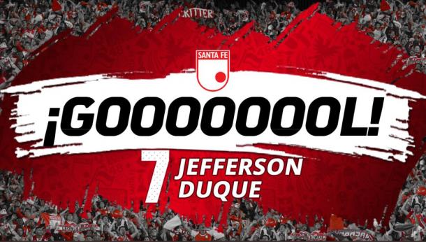 Jefferson Duque, con un recurso brillante, abrió la cuenta de Santa Fe en el partido.