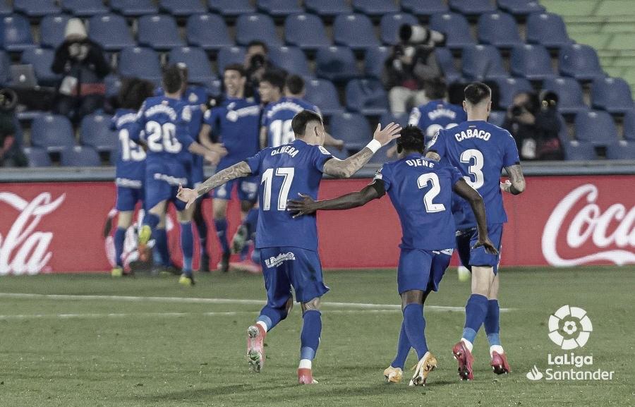 Celebración del gol de Jaime Mata./ Foto: LaLiga Santander