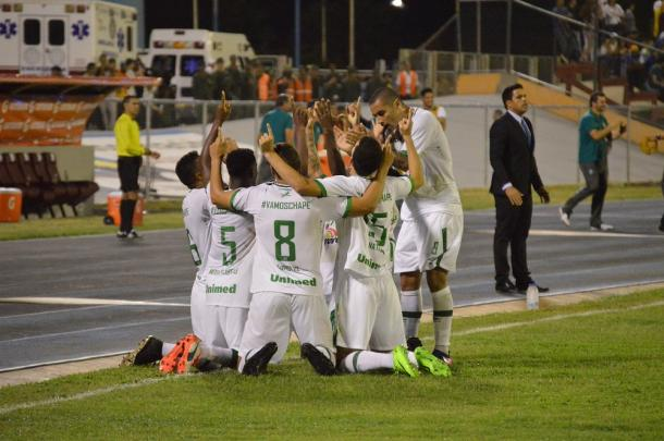 Jugadores del Chapecoense festejando el 0-1 / FOTO: Prensa Zulia FC