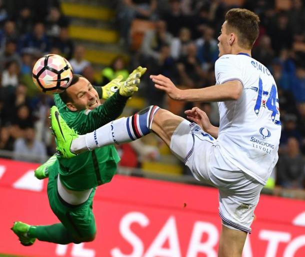 La rete di Schick contro l'Inter | ANSA