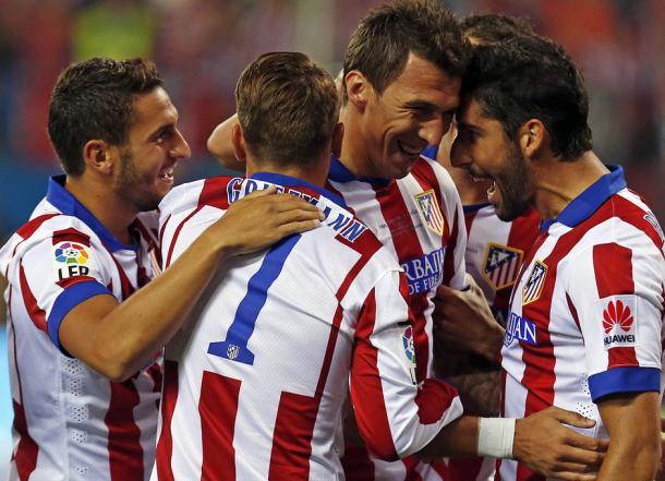 Celebración del gol de Mandzukic en la final de Supercopa de España 2014. / Fuente: Web Oficial del Atlético de Madrid