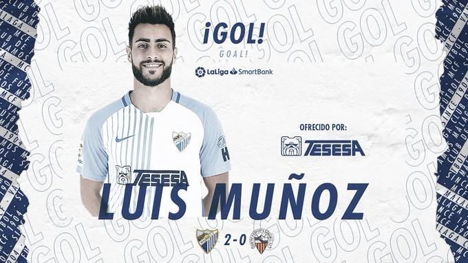 Luis Muñoz en el segundo Gol. / Foto: Málaga CF