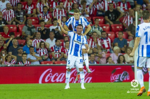 Jonhatan Silva celebrando un gol ante el Atheltic| Fuente: LaLiga