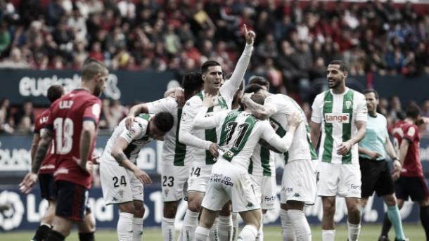 La plantilla del Córdoba celebra el gol de Javi Galán (FOTO: LaLiga)
