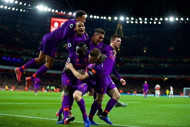 Los jugadores del Liverpool celebran el gol de Milner | Fotografía: Liverpool