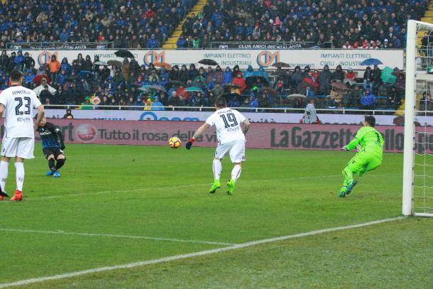 Uno dei 9 goal stagionali, contro il Cagliari, www.sportmediaset.it