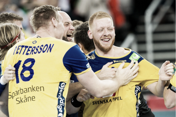 Gottfridsson festejando el pase a la final | Foto: cro2018.ehf-euro.com