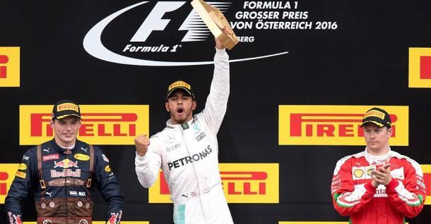 Il podio del 2016: Hamilton davanti a Verstappen e Raikkonen
