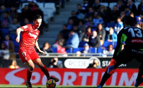 Sarabia en el último encuentro contra RCD Espanyol | Foto: Sevilla FC