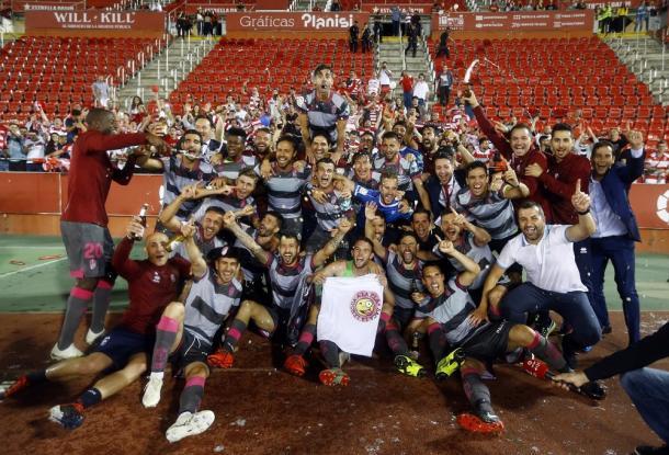 Celebración del ascenso del Granada CF en Son Moix | Foto: La Liga