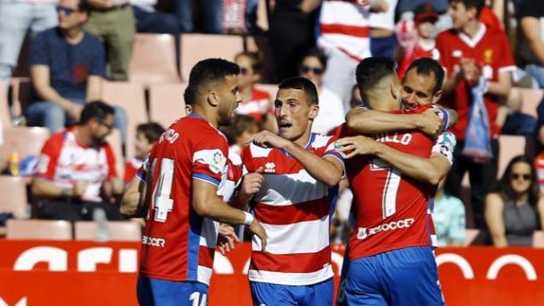 Celebración del gol de Víctor Díaz | Foto: La Liga