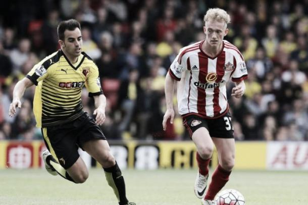 Above: Rees Greenwood in action for Sunderland AFC in his Premier League debut in their 2-2 draw with Watford | Photo: Sunderland Echo