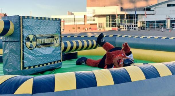 Philadelphia Flyers mascot Gritty playing around in the obstacle zone. | (Photo: KYW Newsradio)
