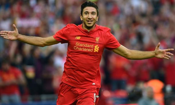 Grujic celebrates scoring the fourth of the night. (Picture: Liverpool FC via Getty Images)