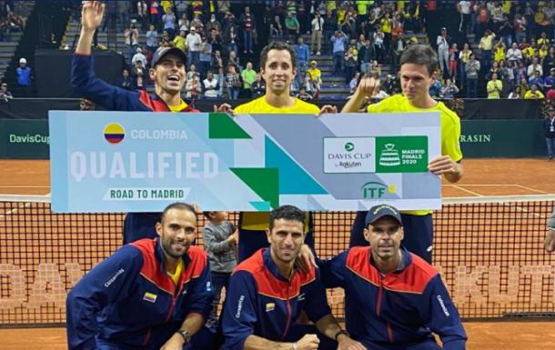 Colombia clasificó a la fase final de la Copa Davis venciendo a Argentina por 3-1 en Bogotá el pasado mes de marzo. Imagen: @DavisCup
