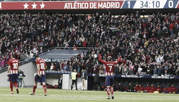 Celebración de Griezmann tras el gol | Atlético de Madrid