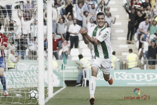 Guardiola celebra su último gol como cordobesista (FOTO: LaLiga)