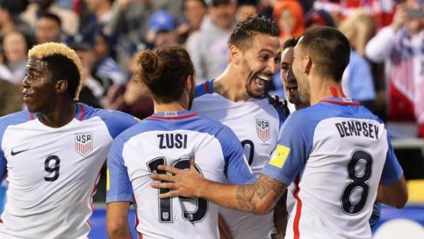 Geoff Cameron and the rest of the team celebrates his goal on Tuesday against Guatemala at MAPFIRE Stadium. Photo provided by Getty Images.