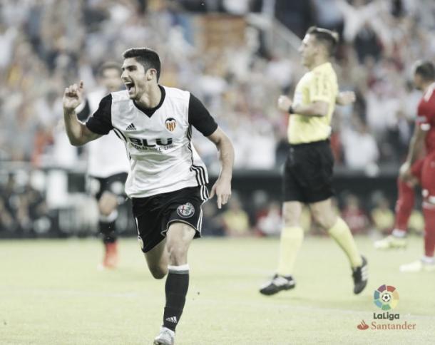 Gonçalo Guedes celebrando un gol ante el Sevilla FC.   Foto: LaLiga