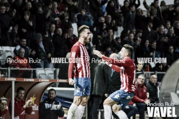 Alcalá, celebrando un gol con el Girona.   Foto: Andrea Ruiz