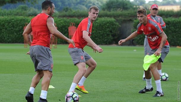 Xhaka and Holding undertake Arsenal training | Photo: Arsenal.com