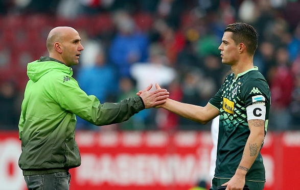 Schubert shakes hands with Xhaka following Gladbach's 2-2 away draw with Augsburg last month - where he was excellent | Photo: Getty