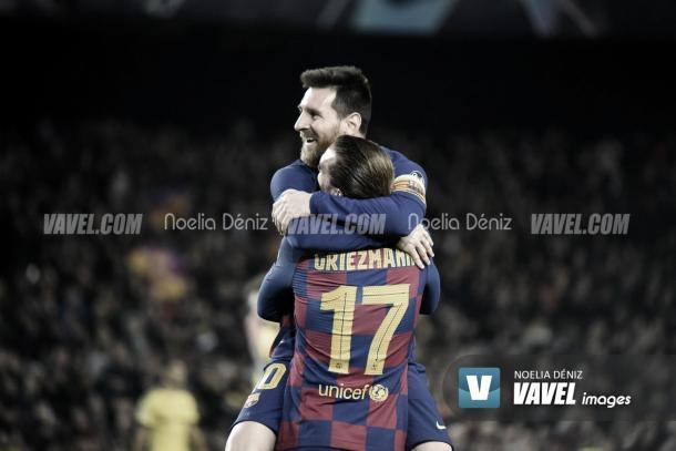 Messi y Griezmann celebrando un gol. | Foto: Noelia Déniz