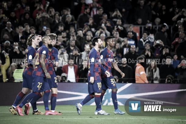 El conjunto azulgrana celebrando un gol. | Foto: Noelia Déniz