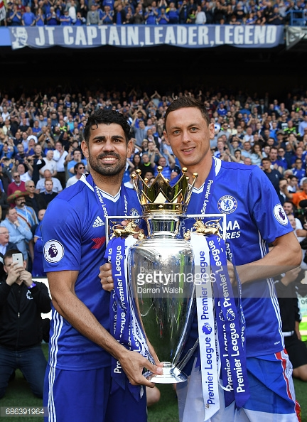 Costa and Matic celebrate Chelsea's Premier League title. | Source: Darren Walsh