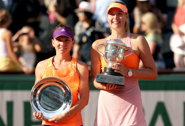 Halep (left) was unable to win her first Grand Slam title against Sharapova (right) in 2014 (Photo by Matthew Stockman / Getty)