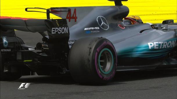 Il deterioramento delle gomme di Lewis Hamilton | twitter