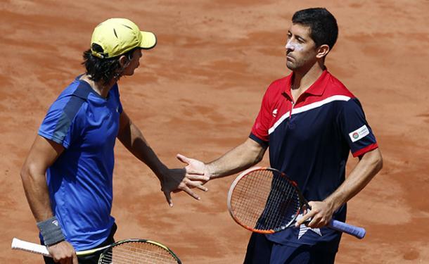 Podlipnik-Castillo/Peralta in action during doubles final. (Photo credit: redsport.cl)