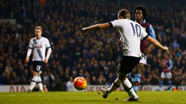 Harry Kane scoring Spurs third goal against Aston Villa earlier in the season | Photo: Getty Images