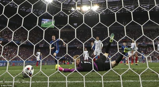 Joe Hart watches on as his mistake sees Iceland take the lead in Nice (photo: Reuters)