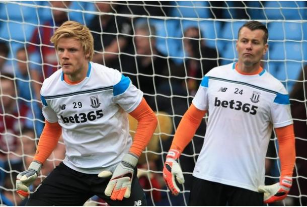 Mark Hughes will have to decide between Haugaard and Given on Saturday (Photo: Stoke-on-Trent Sentinel)